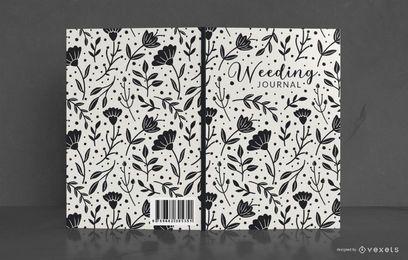 Diseño de portada de libro de diario de boda floral