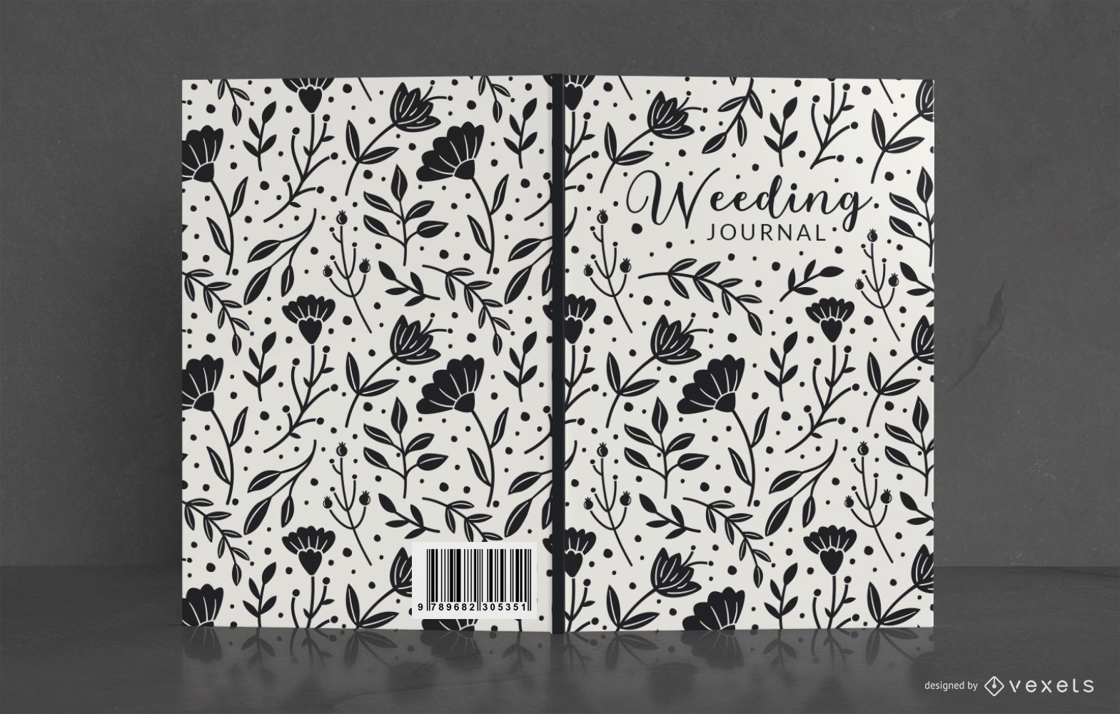 Floral wedding journal book cover design