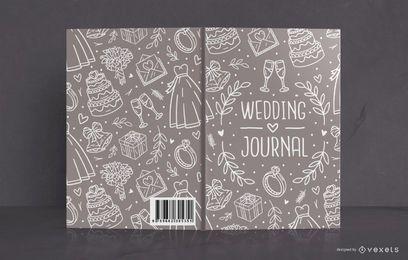 Design de capa de livro de diário de casamento