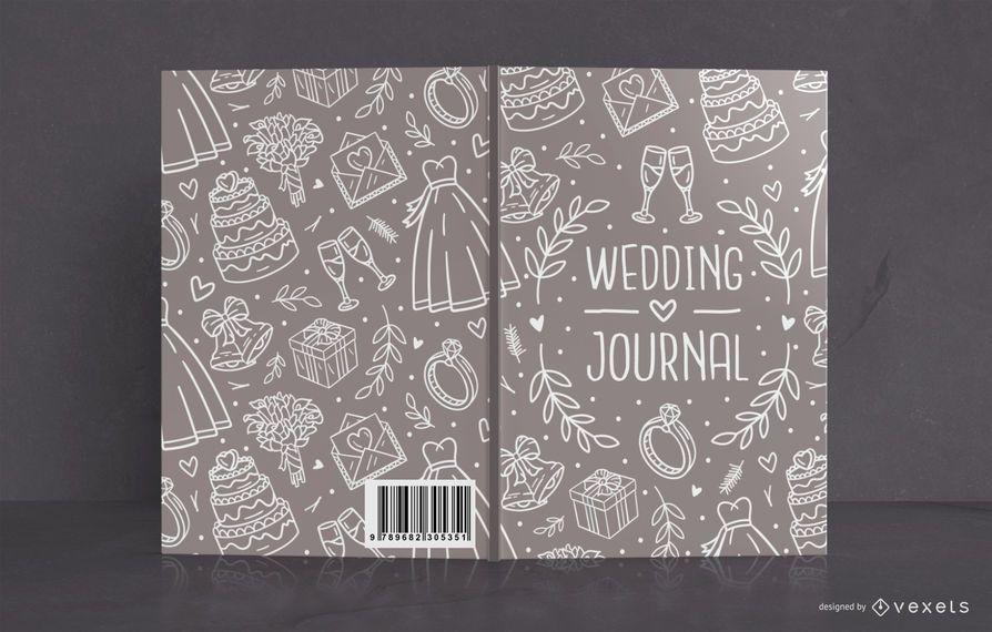 Design de capa de livro de revista de casamento