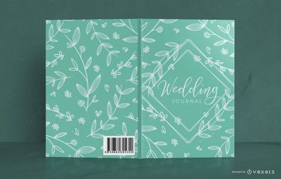 Design de capa de livro floral de casamento