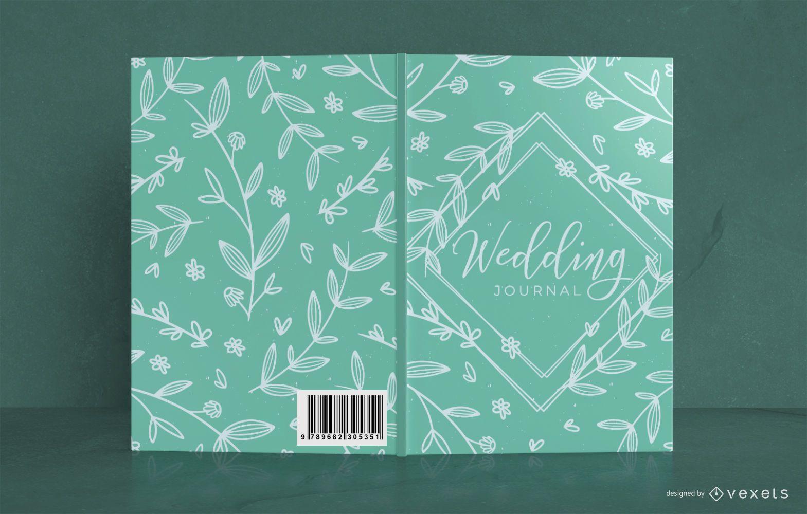 Diseño de portada de libro floral de boda