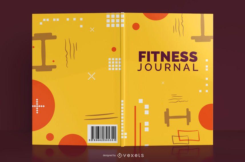 Design da capa do livro do diário de fitness