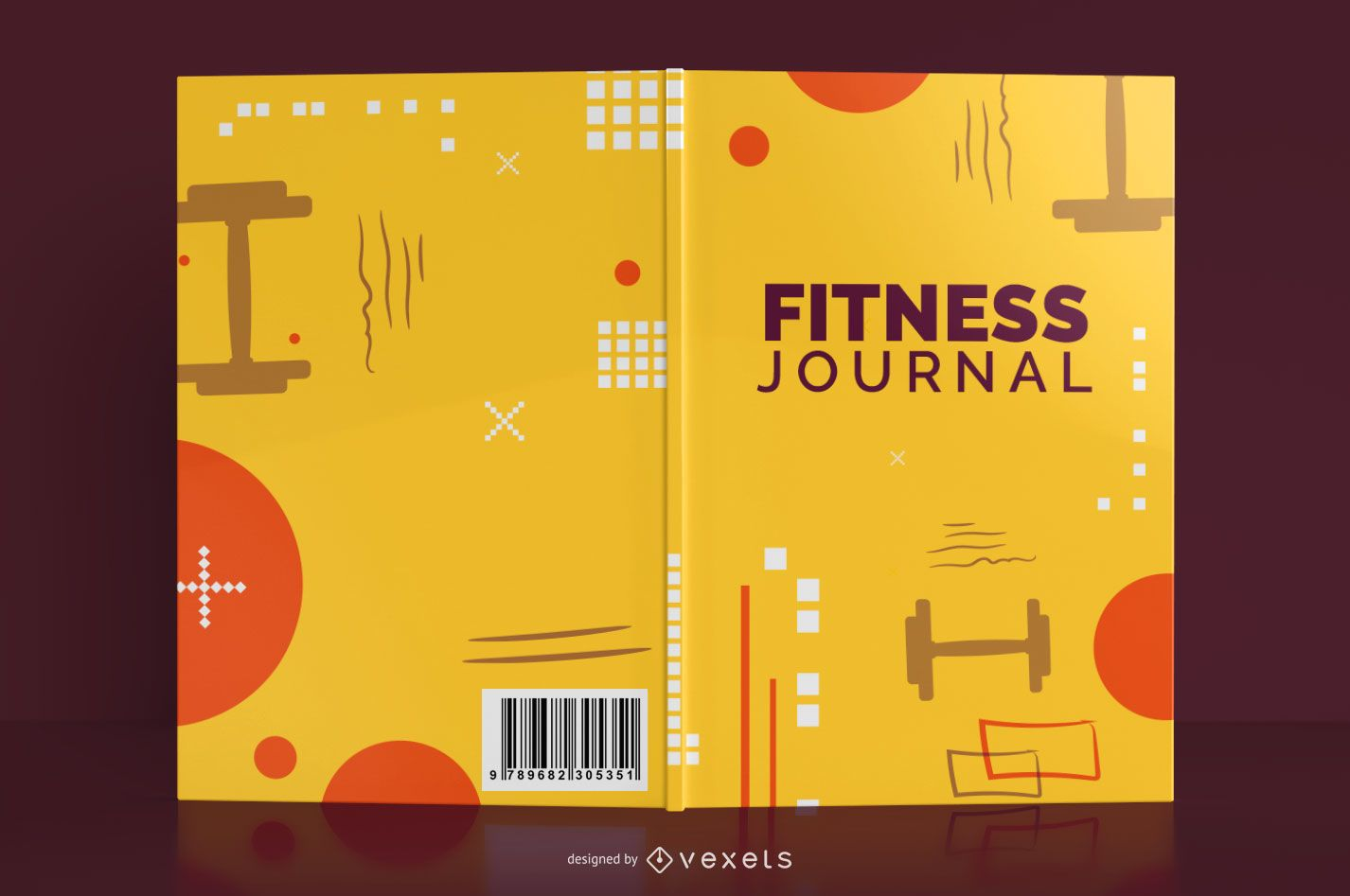 Fitness journal book cover design