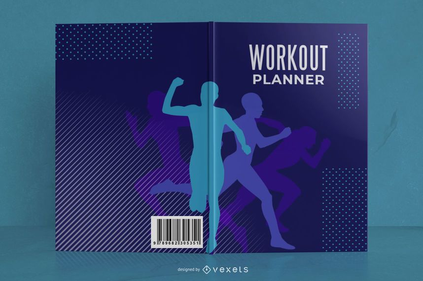 Diseño de portada de libro de planificador de ejercicios
