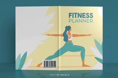 Design de capa de livro de planejador de fitness de ioga