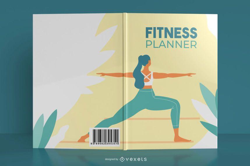 Diseño de portada de libro de yoga fitness planner
