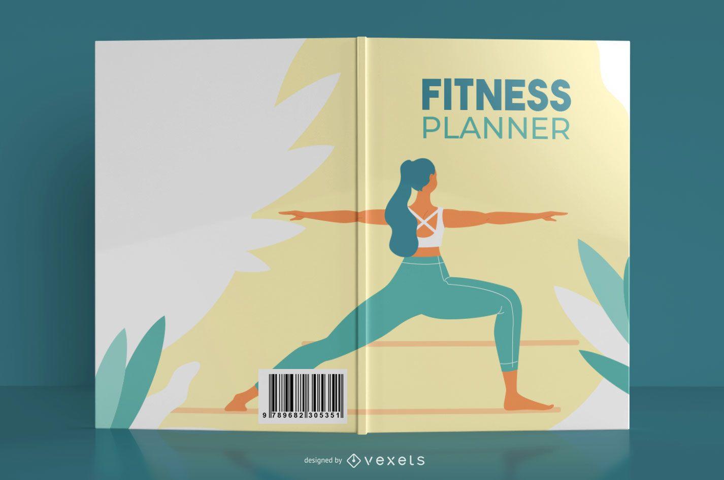 Diseño de portada de libro de planificador de fitness de yoga