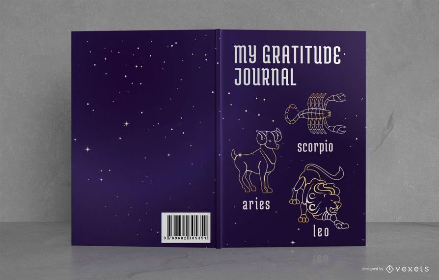 Diseño de portada de libro de diario de gratitud de astrología