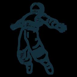 Los brazos extendidos astronauta dibujado