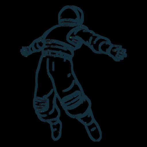 Arms spread astronaut drawn