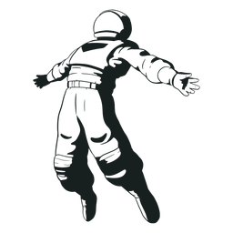 Astronaut arms spread drawn