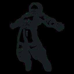 Braços de astronauta estendidos