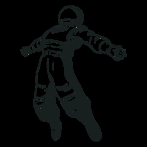Astronaut arms spread drawn