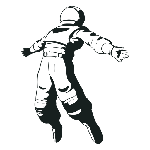 Los brazos del astronauta se extendieron dibujados