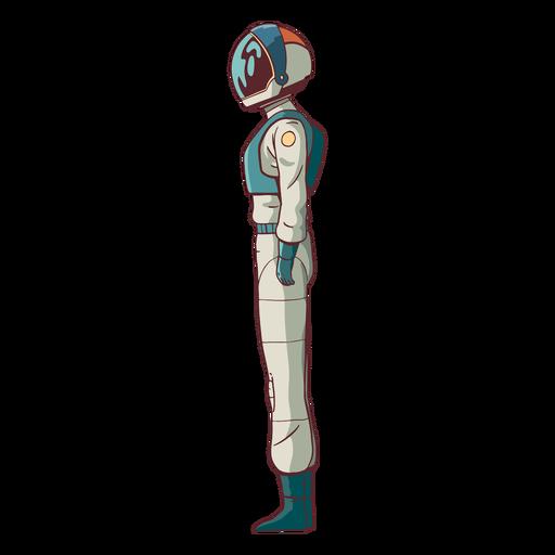 Vista lateral colorida de astronauta
