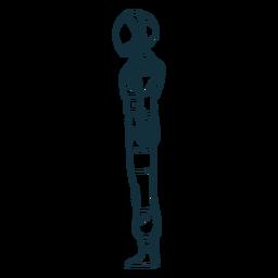 Vista lateral dibujada astronauta