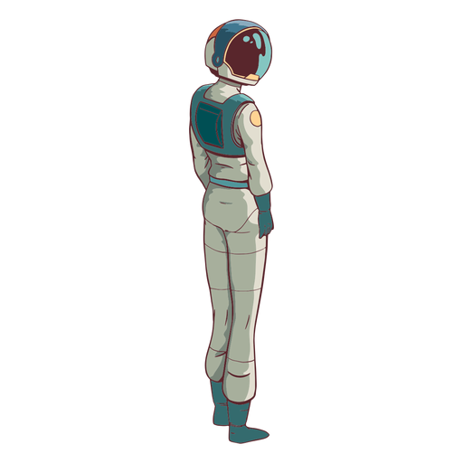 Astronauta mirando de lado coloreado Transparent PNG