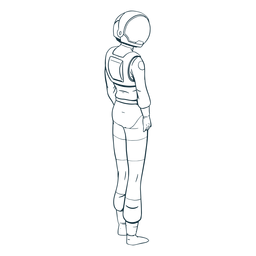 Astronaut looking side drawn