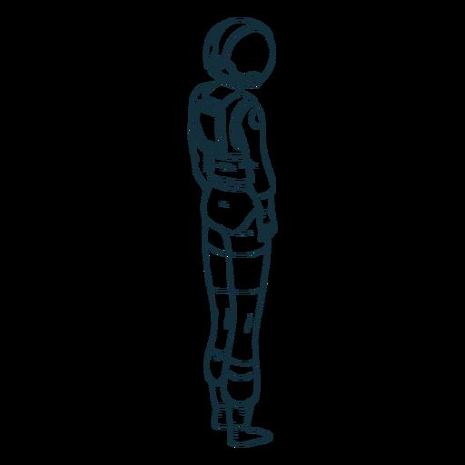 Astronauta mirando de lado dibujado