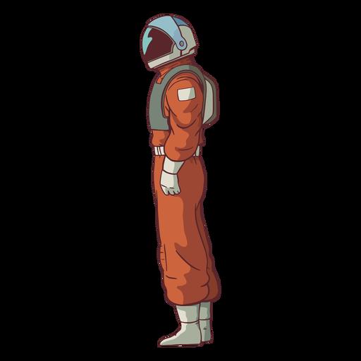 Vista lateral do astronauta colorida