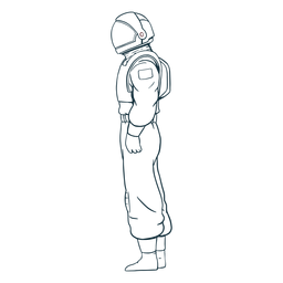 Vista lateral de astronauta dibujada