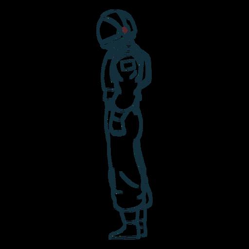 Astronautenseitenansicht gezeichnet