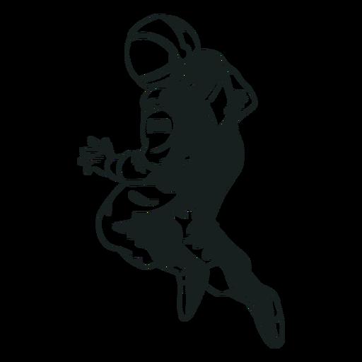 Pose de astronauta robusta dibujada Transparent PNG
