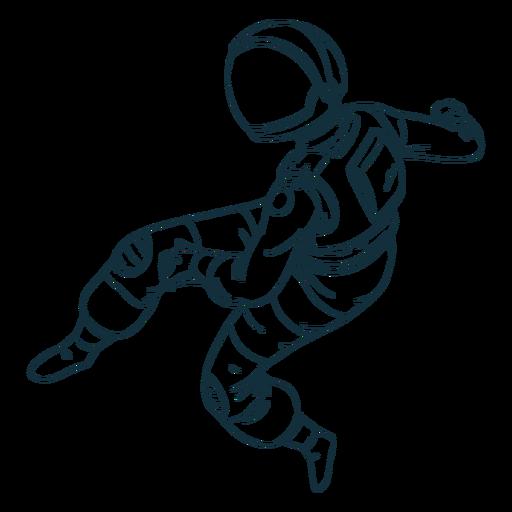 Ehrfürchtiger Astronaut gezeichnet