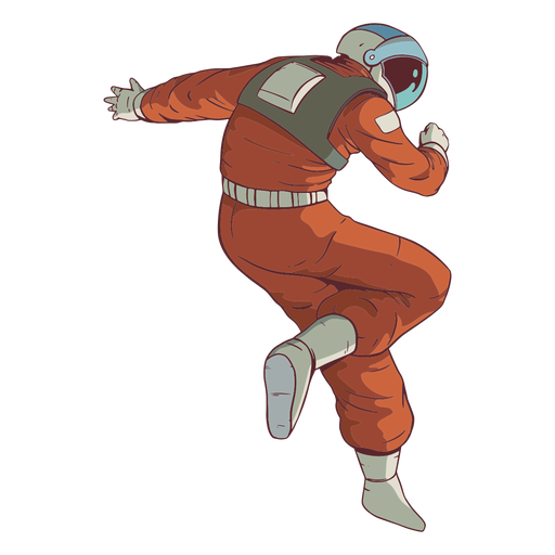 Awesome pose astronaut colored Transparent PNG