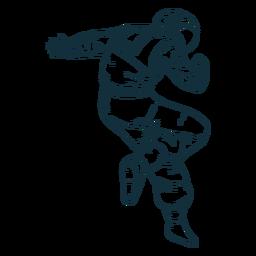 Impresionante pose astronauta dibujado