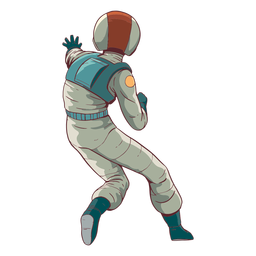 Vista posterior astronauta de color