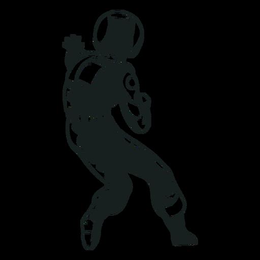 Vista traseira desenhada de astronauta legal
