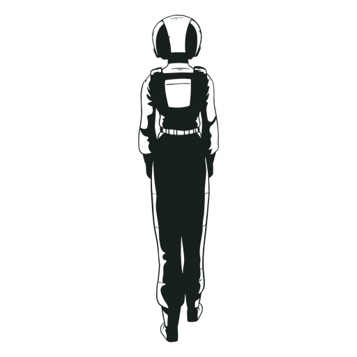 Behind astronaut drawn