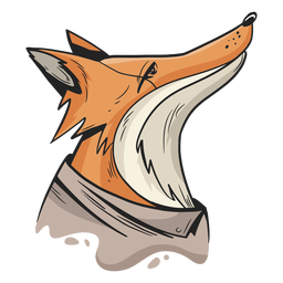 Clothed fox looking up