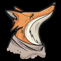 Gekleideter Fuchs schaut auf