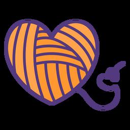 Lana de hilos de colores en forma de corazón