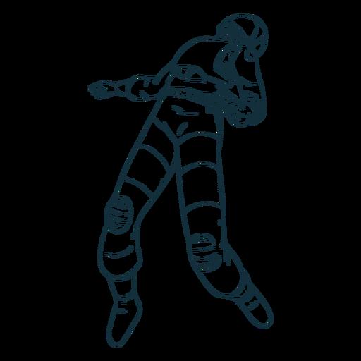 Enfriar astronauta flotante dibujado