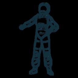 Cool pose astronaut drawn