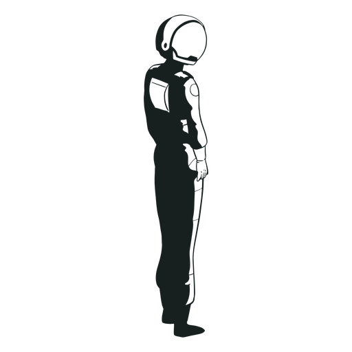 Drawn astronaut looking side