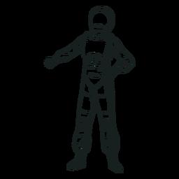 Dibujado pose fresca astronauta