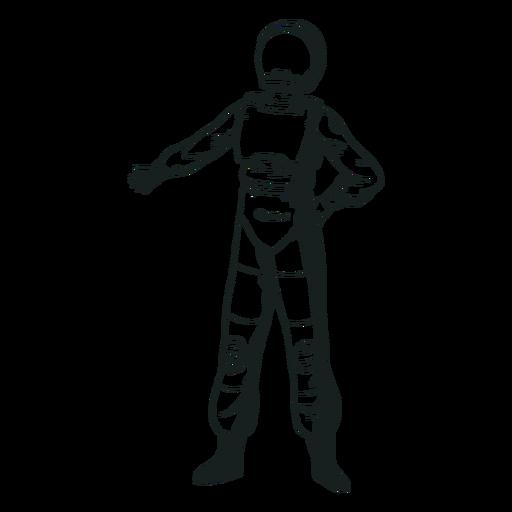 Drawn cool pose astronaut