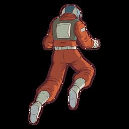 Astronauta flotante detrás de color
