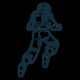 Astronauta flotante detrás dibujado