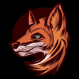 Vista lateral de cabeça de raposa colorida