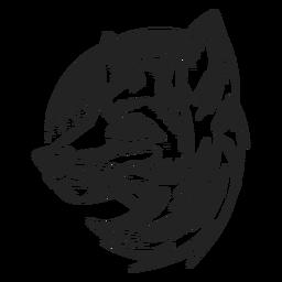 Vista lateral de cabeça de raposa desenhada