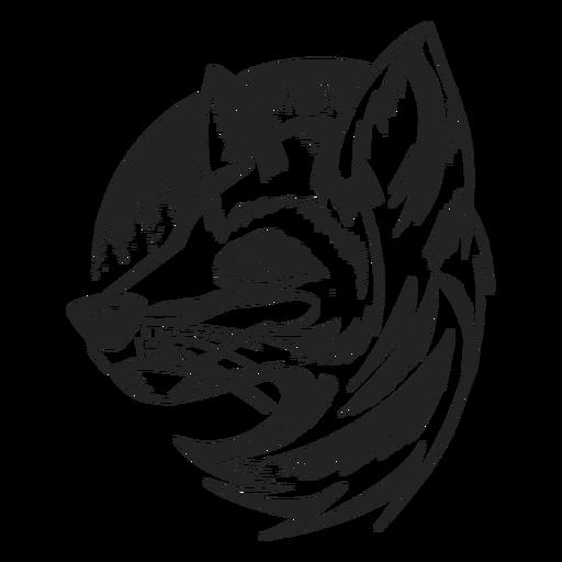 Fox cabeça vista lateral desenhada