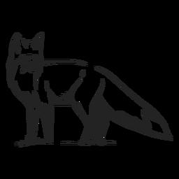Vista lateral de raposa desenhada