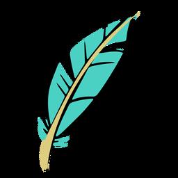 Pluma boho azul dibujada a mano