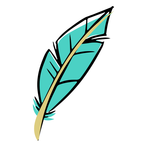 Hand drawn blue boho feather